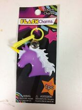 Flash Charms 80s Purple Unicorn Clip-on Plastic Bell Charm Retro 1980s Kawaii