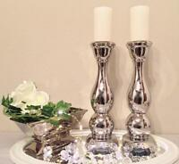 2 x 31 cm Kerzenständer Kerzenleuchter Kerzenhalter Keramik Silber Shabby Chic