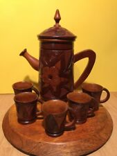 Sint Lucia Carved Wooden Teapot Set With Plate & 5 Cups Ornate Floral Pattern