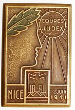 Medaille rectangulaire Coupe JUDEX Nice 1-2 Juin 1941 signee RAGO-PARIS (2)