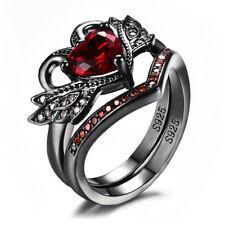 White Gold Heart Cut Sapphire/Garnet Women Wedding Ring Jewelry Gift Size 5-12