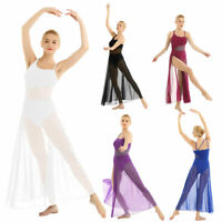 Women Lyrical Dance Dress Sleeveless Asymmetrical Mesh Maxi Built-In Leotard