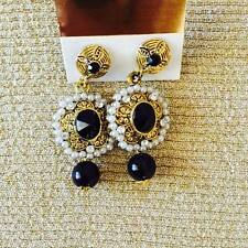 Traditional Indian earring with BLACK crystal drops