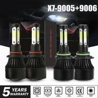 Combo 9005 9006 4-Side LED Headlight Kit 2800W 280000LM High Low Beam Bulb 6000K