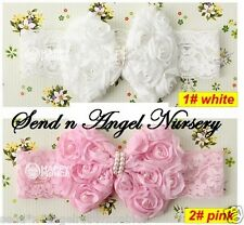 intage Style Rose Bow lace Headband with pearls for Reborn Doll/Newborn PINK