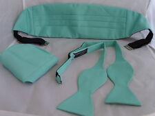 Matt Mint GREEN Self-tie Bow Tie + Cummerbund and Hankie Set>P&P 2UK > 1st Class