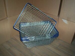 2 Handle Blue Wire Shopping Basket Retail Supermarket Use Hand Carry Mesh (used)