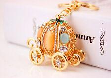 Cinderella Pumpkin Carriage Diamante Rhinestone Bag Charms Handbag Keyrings