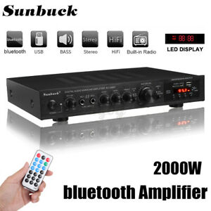 2000W bluetooth Home Stereo Power Amplifier 5 Channel Receiver Amp Hi-Fi FM SD