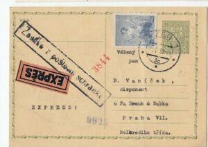 Wg080/ CSSR Ganzsache Zusatz EILBOTEN + Nebenstempel oo 1939