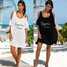 Plus Size Womens Cold Shoulder Cover Up Swimwear T-Shirt Dress Beachwear Bikini