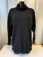 Ladies Black Cowl Neck Sweatshirt / Jumper With Stud Detail To Front Size Med