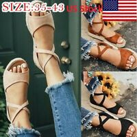USA Women Bandage Flat Espadrille Ankle Strap Sandals Platform Summer Shoes H/J