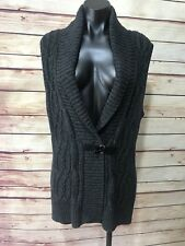 AMERICAN LIVING Womens Size L Sweater Vest Cardigan Brown Cable Shawl Collar