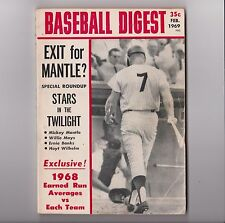 1969 Mickey Mantle Baseball Digest Cover Feb