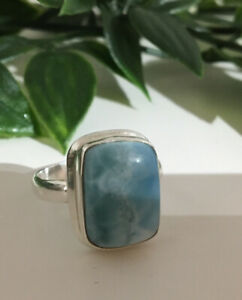 925 Silver Blue Larimar Ring Size P / 7.5