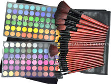New Professional 120 Color Eye Shadow Palette & 24pcs Black Brushes Set Kit