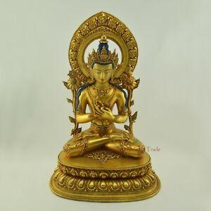 "Fine Quality Hand Carved 19.25"" Maitreya The Future Buddha Copper Statue Patan"