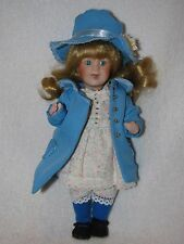 """Sweet 8"""" All Bisque Doll Wearing Blue Coat & Hat"""