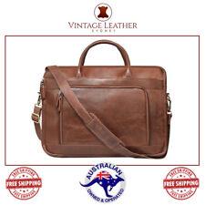Vintage Leather Mens Messenger Shoulder Satchel Briefcase Crossbody Laptop Bag