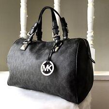 MICHAEL KORS GRAYSON Black LG Signature Satchel Handbag