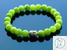 Buddha Olive Mashan Jade Gemstone Bracelet 7-8'' Elasticated Healing Stone