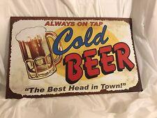 Metal Tin Sign always on tap cold beer Bar Pub Vintage Retro Poster Cafe ART