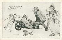 VINTAGE COMIC 1921er! CRANKY COUPLE PUSHING DRUNK in WHEELBARROW POSTCARD UNUSED