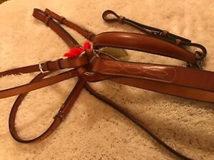 NEW ENGLISH BREAST PLATE/MARTINGALE ( HORSE) BY OVATION- FANCY STITCHING