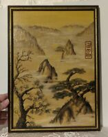 Vintage Asian Japanese Signed Oil on Board Landscape Painting Trees
