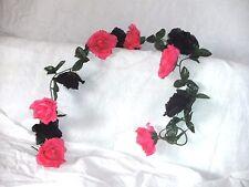 Rosengirlande schwarz/pink ca.250 cm  Blüte ca. 12 cm Kunstblumen