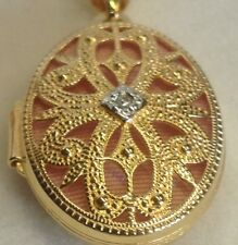 Gold Plated Sterling Silver 1pt Diamond Oval Locket Necklace Pink Lining 21mm