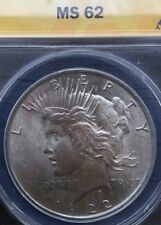 << 1922-P  PEACE SILVER DOLLAR,  ANACS HIGH GRADE MS62 COIN, WOW..Great TONES