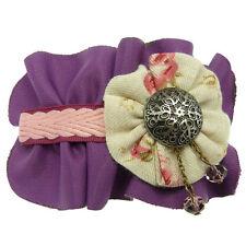 Barrette Pince à Cheveux Tissu violette violet Tresse rose Bouton Argenté Perles