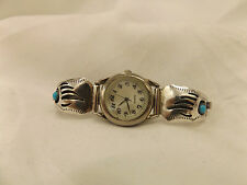 925 Sterling Silver Native American Handmade Turquoise Watch by Farlene Spencer