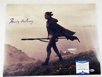 DAISY RIDLEY SIGNED REY 16X20 PHOTO THE FORCE AWAKENS LAST JEDI BAS COA 239