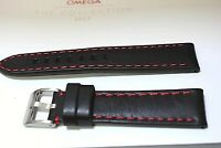 SPORTS GENUINE CALF LEATHER WATCH BAND RED STITCH 20MM FITS Tissot & OTHER