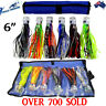"6"" Pusher Game Fishing Trolling Lures Skirted Marlin Tuna Rigged Mahi Set of 6"
