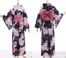 k-031 NERO ROSE Brillantini Farfalla Fiori Kimono Giapponese Yukata Obi Cintura