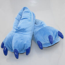 """New Lilo and Stitch Blue Soft Cosplay Adult Plush Paw Shoes Slippers 11"""" Indoor"""
