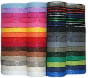 Gurtband 4 Meter oder 12 Meter, 25mm breit, 1,4 mm dick in 30 Farben