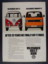 1981 VW Volkswagen Vanagon & 1961 Bus photo vintage print Ad
