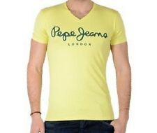 Pepe Jeans London T-shirt Col V Stretch Pm500373 Slim Fit coton Jaune S