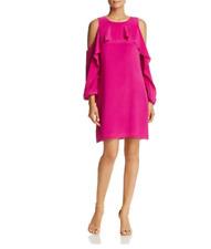 Kobi Halperin Women's Cold Shoulder Cascade Ruffle Silk Dress,S         $498.00