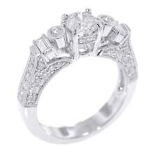 Diamond Engagement Ring 1.65ct Round Baguette White 18k Gold Size 6.75