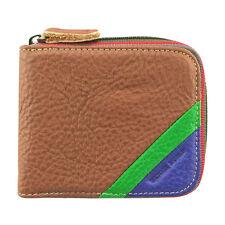 Skyler Men's Brown Genuine Leather Bifold Wallet Card Holder Zip-Around Purse