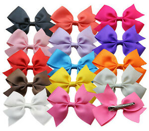 Lot 30 Pcs Girls Baby Girl Hair Bows Boutique HairPin Clips Flower Ribbon Holder