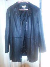 Alfani black genuine leather women's L zip front jacket