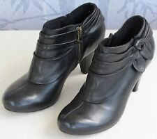 7 M | Clarks indigo Women Black Leather Zip Up Pump High Heel Ankle Boot Shoe
