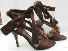Bourne size 5 (38) brown satin high heel ankle tie sandals